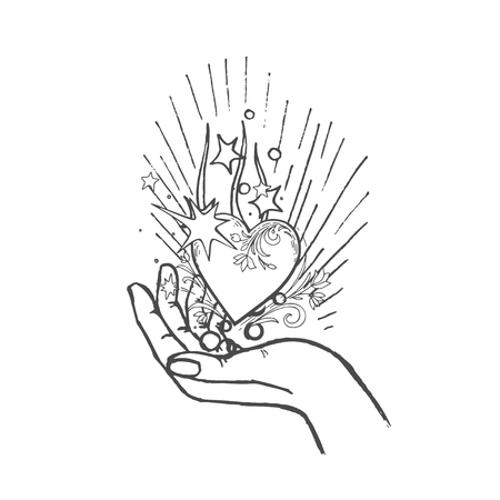 glowing heart on open palm. Vector hand drawn illustration Ilustrace