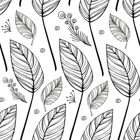 Seamless black and white vintage background with light leaves and curls and decorative twig with berries. Eps-8 Ilustrace