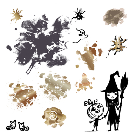 A set of inkblots and blots and painted children in costumes of witches and pumpkins for decoration of promotional and greeting materials to Halloween Stock Photo