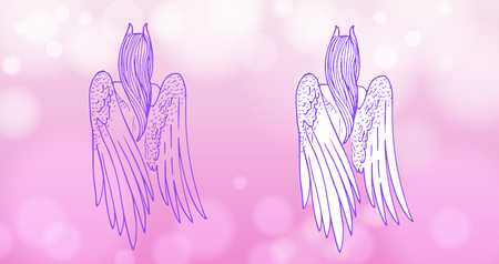 Hand-drawn beautiful leaving girl with white wings and small horns. Vector illustration.
