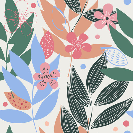 Seamless simple floral texture with hand-painted leaves of tropical plants. Southern Palm Background Ilustrace