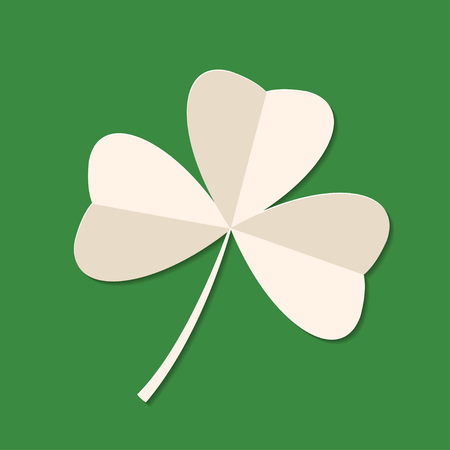 Saint Patrick's Day green three leaf clover on green background. Holiday 3d icon. illustration. Spring symbol. 免版税图像
