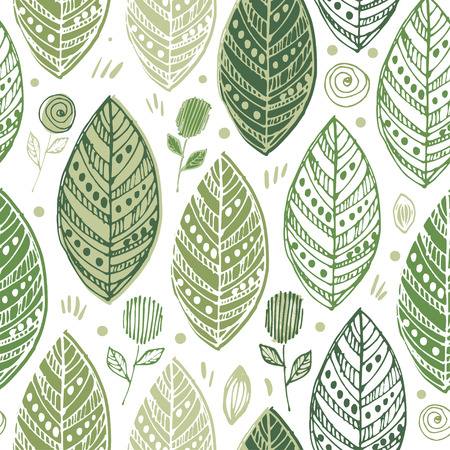 Decorative ornamental endless elegant texture with leaves. Tempate for design fabric, backgrounds, wrapping paper, background seasonal seamless pattern with leaf, summer leaf background.
