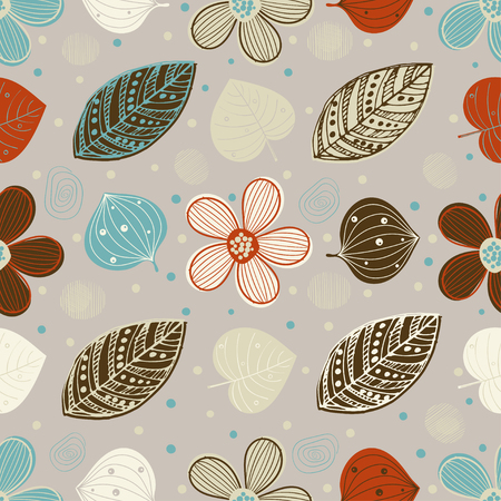 Abstract scandinavian seamless pattern. Fabric texture with decorative flowers. Background with circle ornamental texture Ilustrace