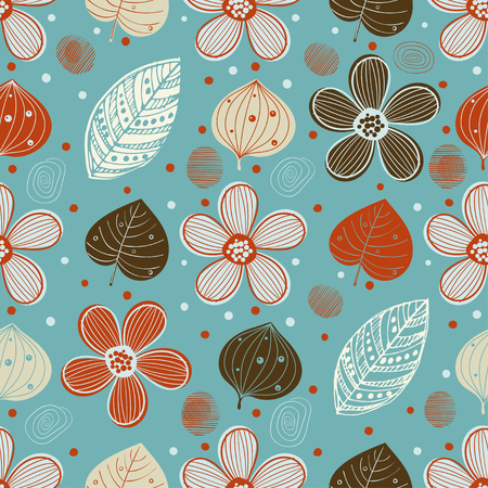 vintage seamless print with simple flowers, leaves and abstract elements. Ilustrace