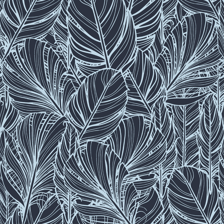 Feather of bird and spray paint - vector seamless pattern