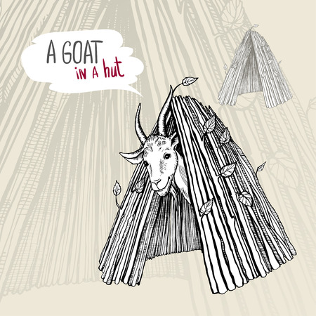 A satisfied white goat with horns and a beard, looking out of a hut. Black and white hand-drawn vector drawing. Illustration