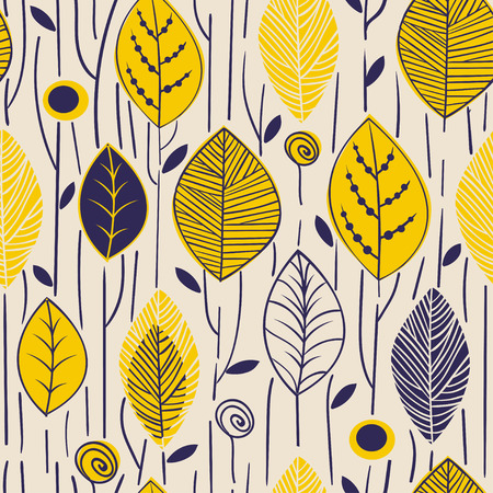 Vector seamless pattern with hand drawn stylized leaves. Trendy scandinavian design concept for fashion textile print. Nature illustration.