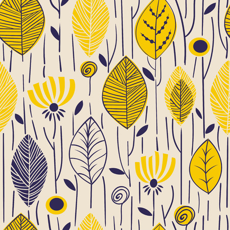 Vector seamless pattern with hand drawn stylized leaves. Trendy design concept for fashion textile print. Nature illustration 60s design Ilustrace