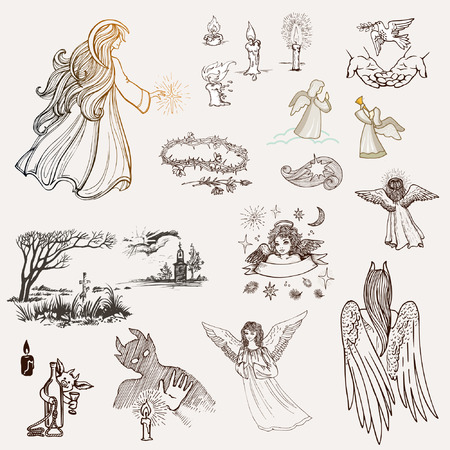 Set of hand-drawn sketches on religion. Angels, candles, a cross in a cemetery, a chapel or a church, a demon, a crown of thorns and palms with a dove flying up Standard-Bild - 122297953