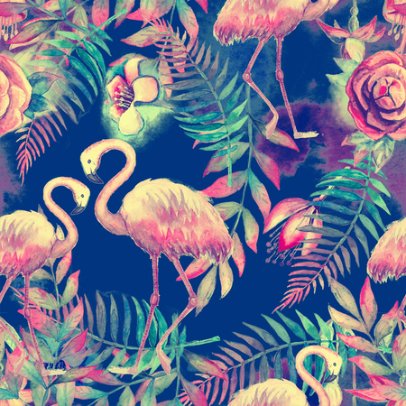 Watercolor tropical seamless floral pattern. Colorful paint background. Purple, pink and green texture. Floral mix artwork 版權商用圖片 - 122536827