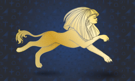 Golden running sphinx on blue background with hieroglyphs