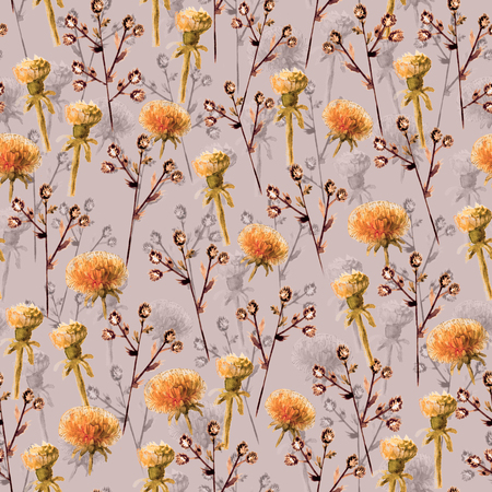 Seamless pattern of watercolor wild flowers on dark pink background