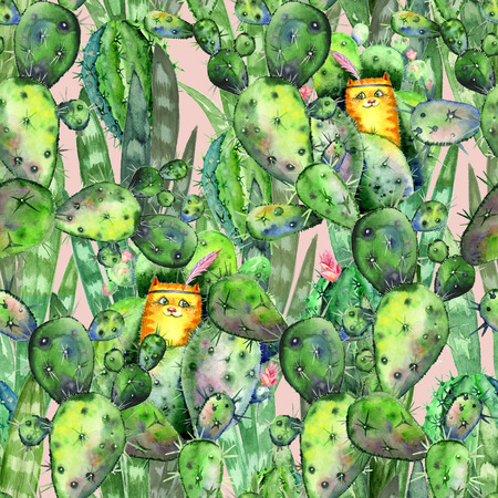 Watercolor seamless texture with red cats hiding among flowering cacti and tropical leaves. Watercolor print for childrens fabrics and wrapping paper in cute boho style