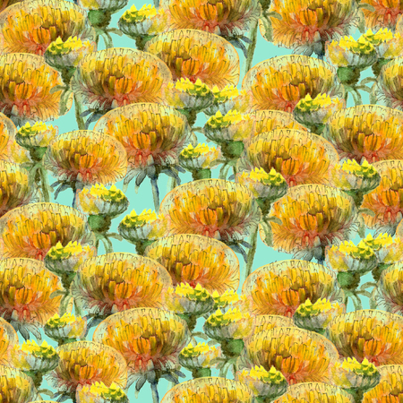 Seamless pattern of watercolor yellow dandelions