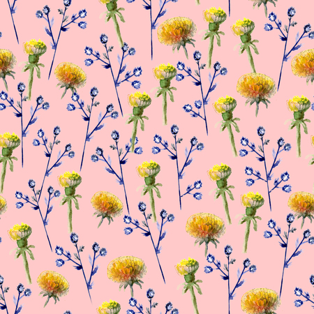 Seamless pattern of watercolor yellow dandelions and blue prickly eryngium
