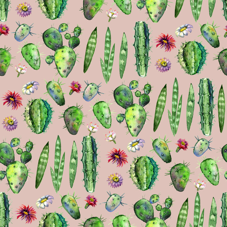 Colorful Seamless pattern with succulents plants, branches and flowers on powder pink background. Perfect for your project, greeting card,packaging,wallpaper,pattern,texture,cover