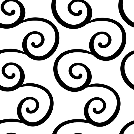 Seamless pattern with black swirl ornament on white. Background for invitations and cards. Wedding, birthday. Black white Illustration