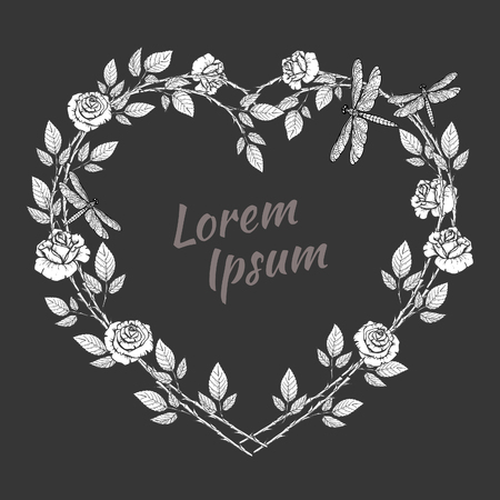 Wreath of roses flowers and butterflyes in form of heart. isolated on black background. Floral frame design elements for invitations, greeting cards. Hand drawn vector illustration. Outline.