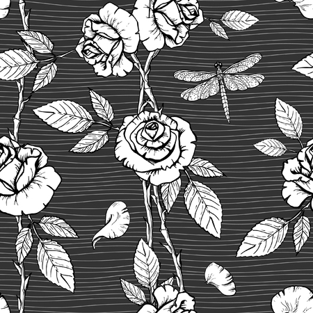 Vector Floral seamless pattern with ink hand drawn roses and dragonflies on on a dark background.
