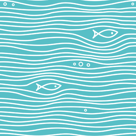 Seamless blue simple pattern with simple fishes and waves. Vector simple marine background. Design for backdrops with sea, rivers or water texture. Repeating texture. Figure for textiles. Print for the cover of the book, postcards, t-shirts. Surface design. Eps-8 Ilustrace