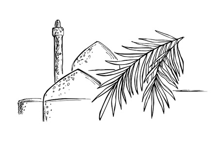 Hand-drawn black and white sketch on the theme of Persia. A branch of date palm against the background of the domes of the mosque and the minaret. Vector illustration.