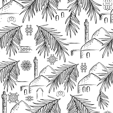 Vector seamless pattern with hand-drawn date palm branches, domes and minarets. Black and white print with oriental motifs, ornaments for wrapping paper, fabrics and covers