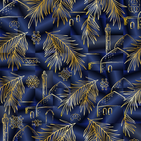 Vector seamless pattern with hand-drawn gold date palm branches, domes and minarets on a blue silk background. Print with oriental motifs, ornaments for wrapping paper, fabrics and covers.