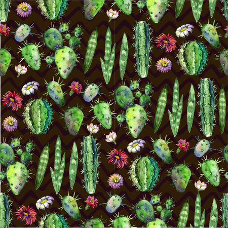 Colorful Seamless pattern with succulents plants, branches and flowers on dark background. Perfect for your project, greeting card,packaging,wallpaper,pattern,texture,cover