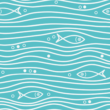 Seamless blue simple pattern with simple fishes and waves. Vector simple marine background. Perfect for wallpaper, texture, cover Reklamní fotografie