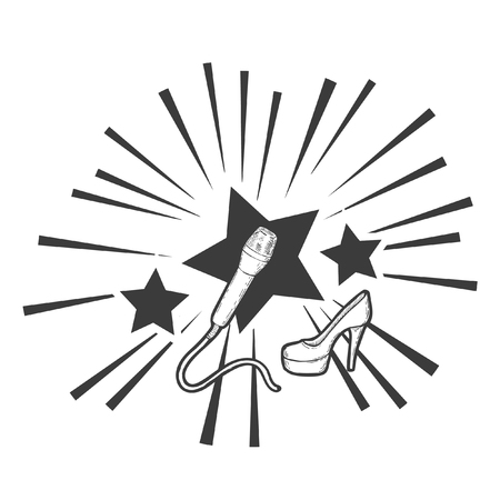 Black and white vector illustration on the topic of pop music. A microphone and a high-heeled shoe against the background of shining stars