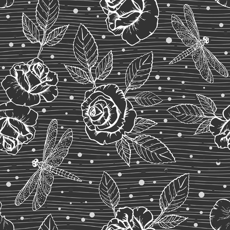 Vector Floral seamless pattern with ink hand drawn roses and dragonflies for your design on on a dark striped background Reklamní fotografie