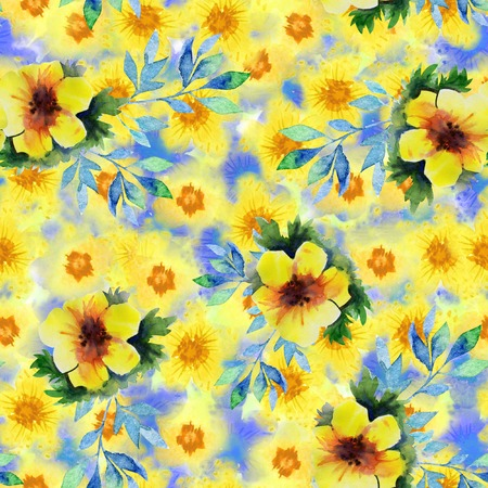 Seamless pattern with abstract watercolor flowers. yellow and orange flower on a blue background. Bright, cheerful, child illustration for your design