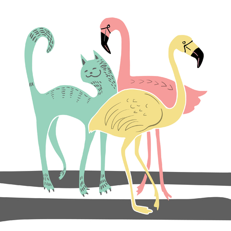 Vector poster with funny cat and flamingo 版權商用圖片