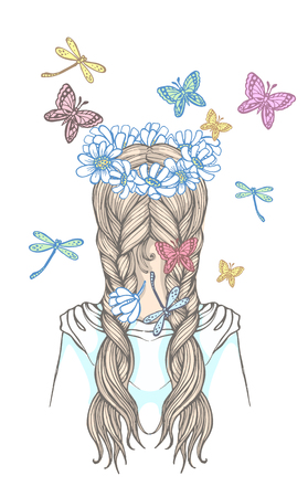 Girl with two braids and wreath of flowers, surrounded by fluttering butterflies. Hand drawn vector outline illustration