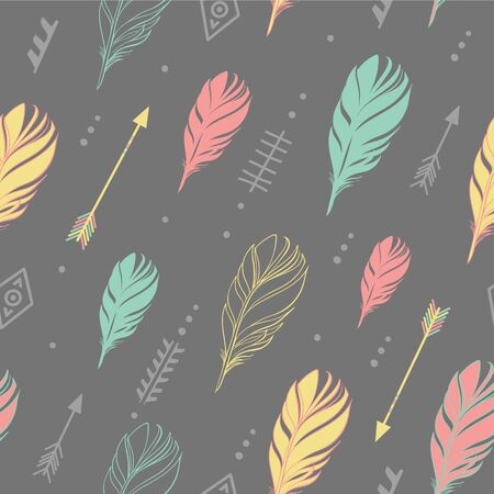 Hand drawn vector illustration. Seamless pattern with tribal arrows on dark gray background. Perfect for wallpapers, greeting cards, blogs, web page background and more