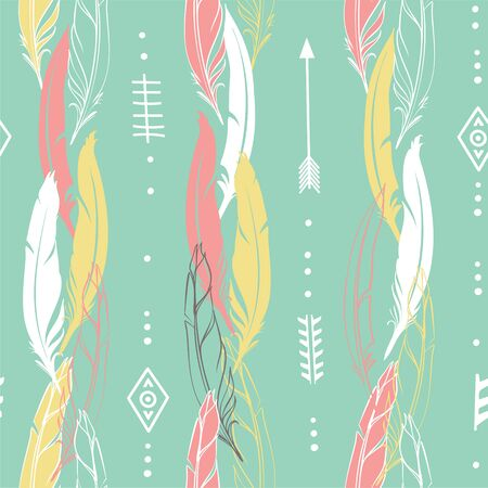 Hand drawn vector illustration. Seamless pattern with tribal arrows. Perfect for wallpapers, greeting cards, blogs, web page background and more