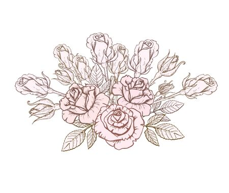 design greeting card and invitation of the wedding, birthday, Valentines Day, mothers day holiday bouquet of hand-drawn roses. Vector illustration in vintage style Banco de Imagens