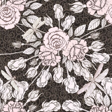 Vector seamless texture with hand drawn roses on dark background