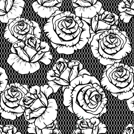 Floral pattern. Flower seamless background. Black and white lourish ornamental roses garden roses