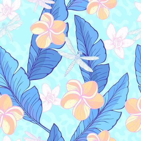 Seamless pattern with green Banana leaves, tropical flowers and drugonflyes on the dusty, abstract background. Vector illustration. Stock Photo