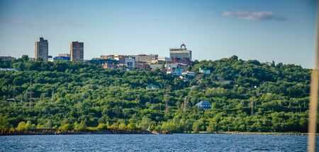View of the city center of Ulyanovsk from the Volga River. Stock Photo