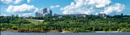 Panorama of the city of Ulyanovsk from the Volga river, Russia Stock Photo