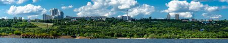 Panorama of the city of Ulyanovsk from the Volga river, Russia.