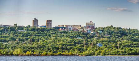 Ulyanovsk, Russia - July 20, 2019. View of the city center of Ulyanovsk from the Volga River.