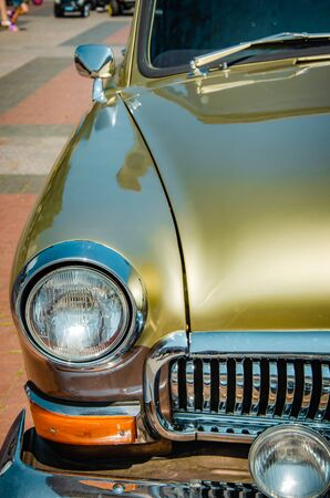 Close up of headlight lamp simply vintage car