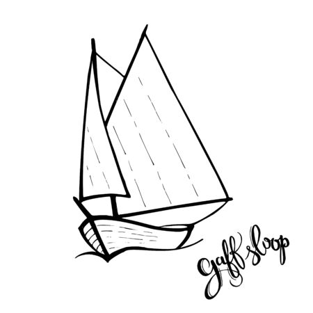 Sailing yacht in the sea icon. Line doodle sketch. Editable stroke icon with lettering - Gaff sloop. Type of sailboat
