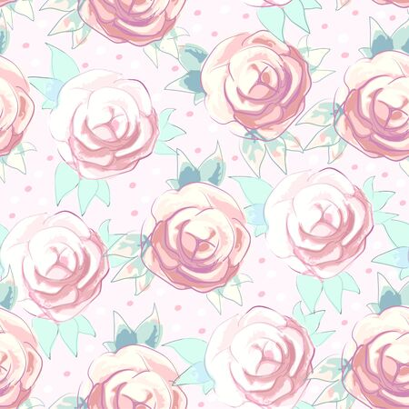 Vector hand-drawn seamless print with pale watercolor roses to create backgrounds, wallpaper and fabrics Stock Photo