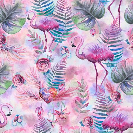 Tropical seamless floral pattern with watercolor palm leaves, flowers and pink flamingo. Purple, pink and green texture. Floral mix artwork