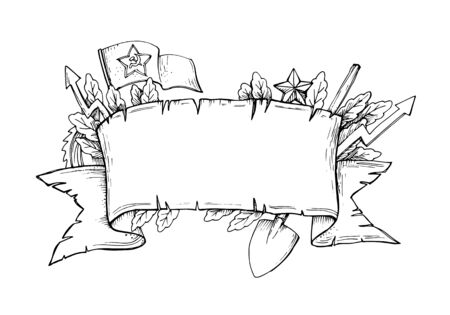 Vector hand drawn black and white banner with attributes of military and construction subjects 写真素材